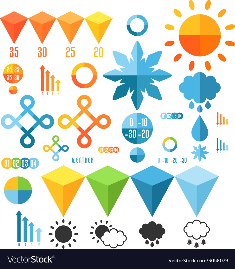 Weather set of infographics elements vector | Price: 1 Credit (USD $1)