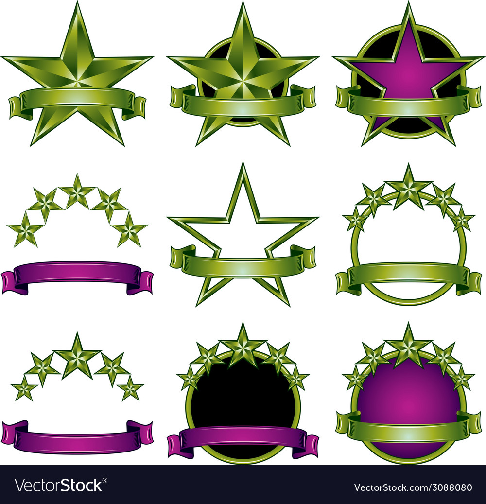 5 stars classic emblems set vector | Price: 1 Credit (USD $1)