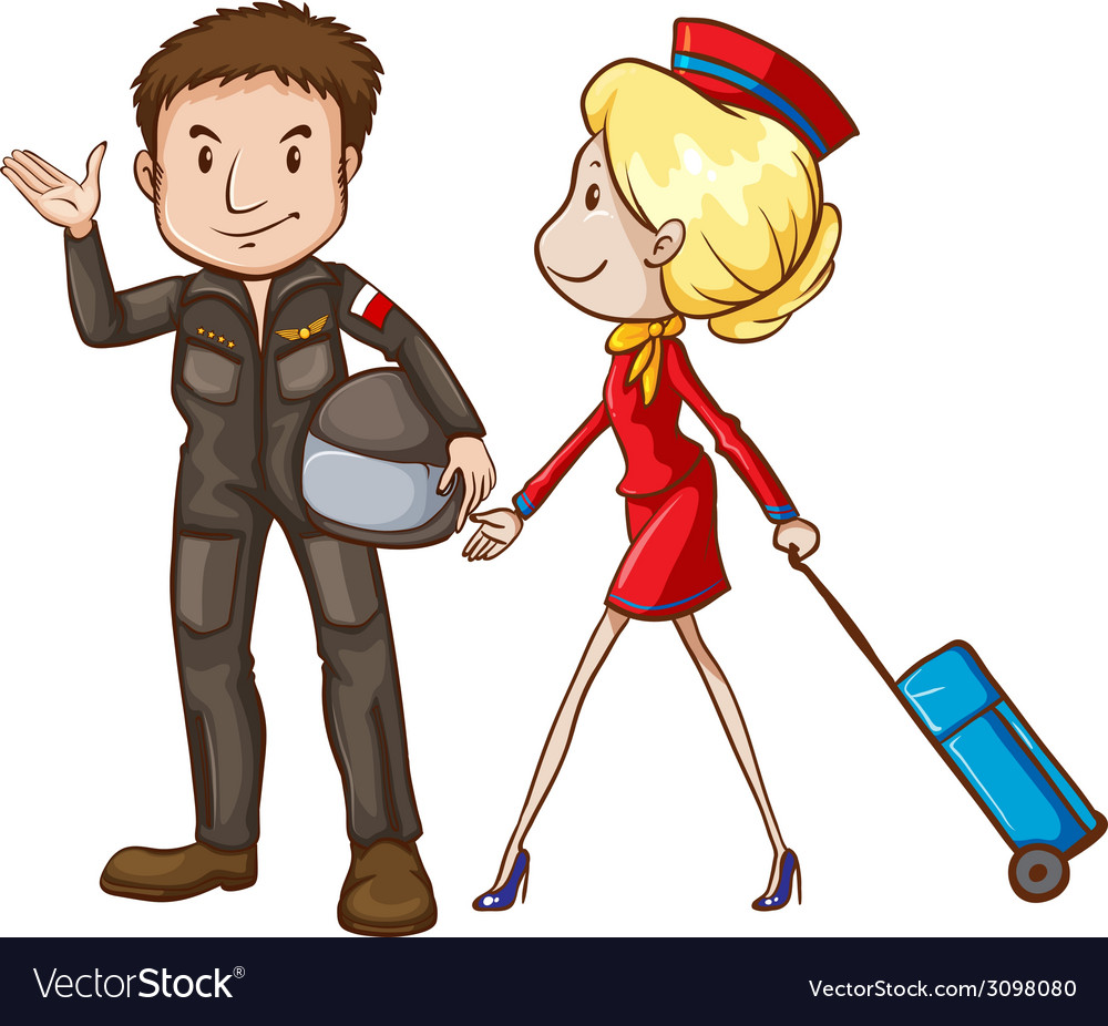 A simple sketch of a pilot and a stewardess vector | Price: 1 Credit (USD $1)