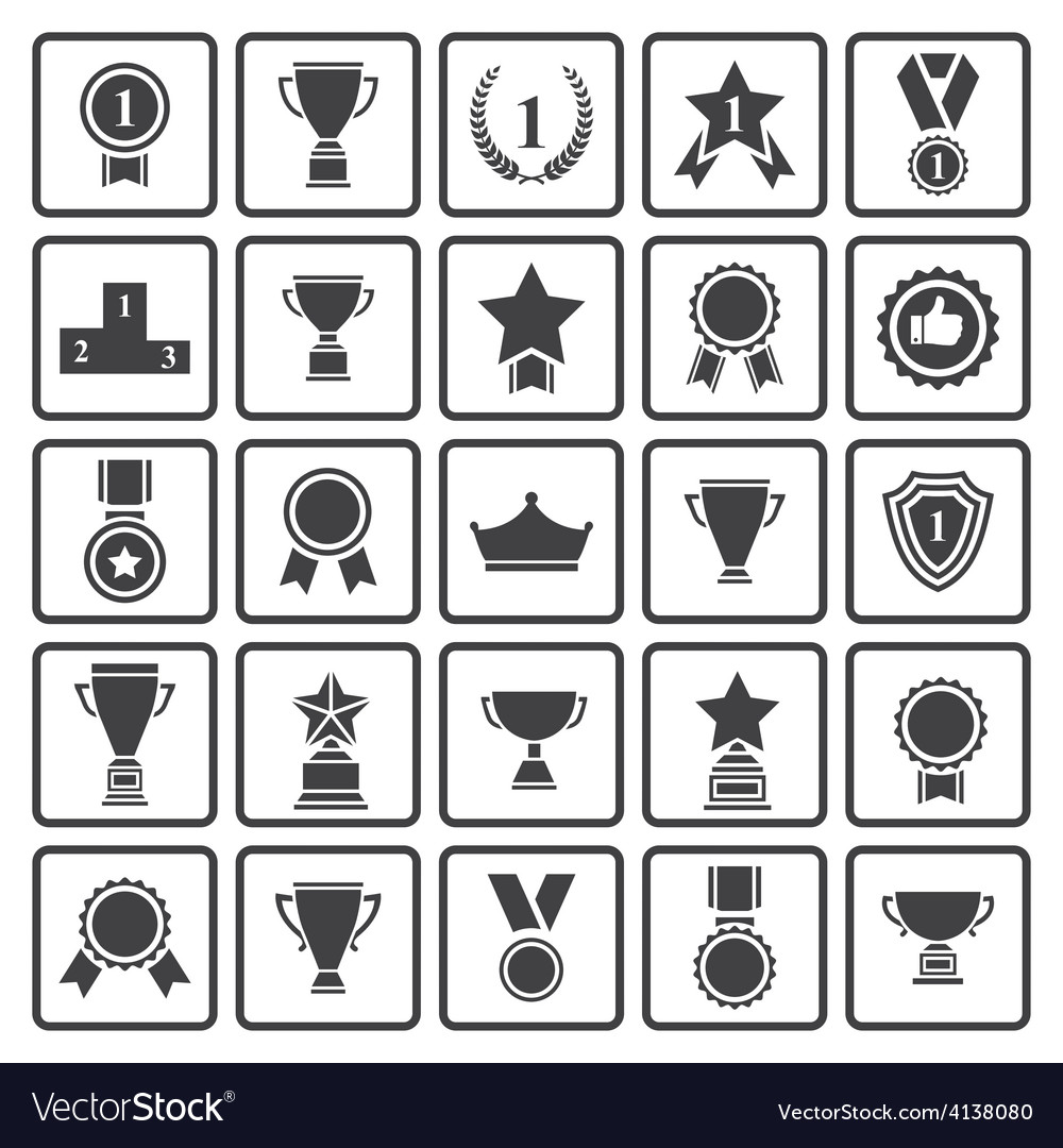 Black avards icons set vector | Price: 1 Credit (USD $1)