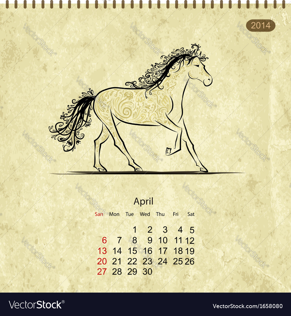 Calendar 2014 april art horses for your design vector | Price: 1 Credit (USD $1)