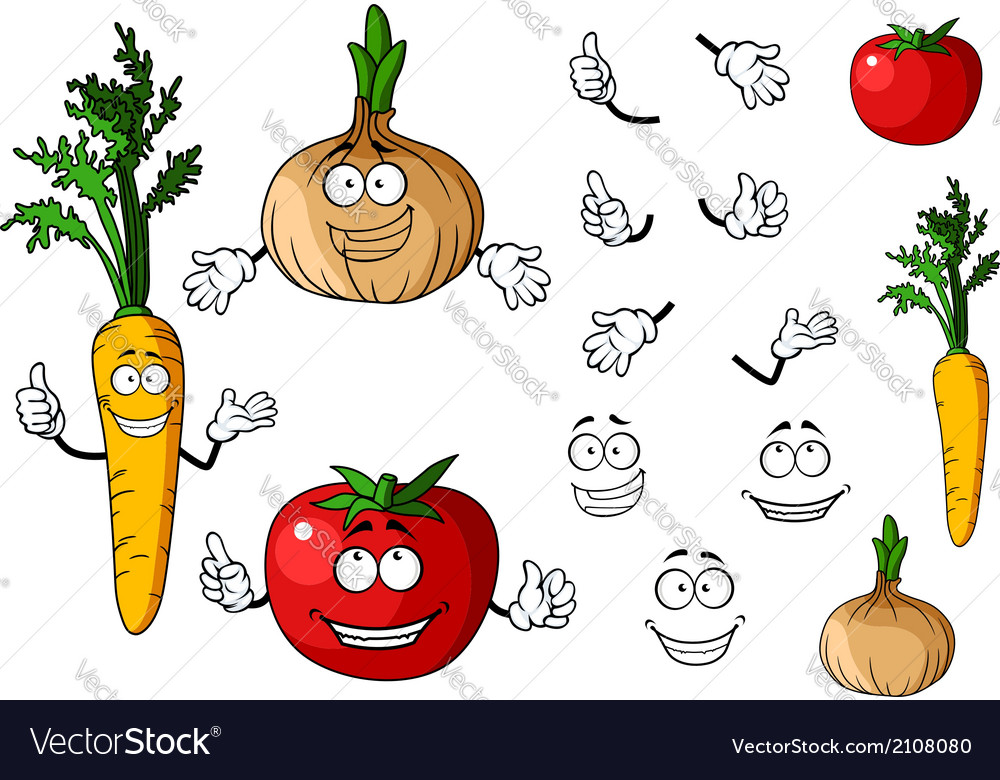 Carrot tomato and onion vegetables vector | Price: 1 Credit (USD $1)
