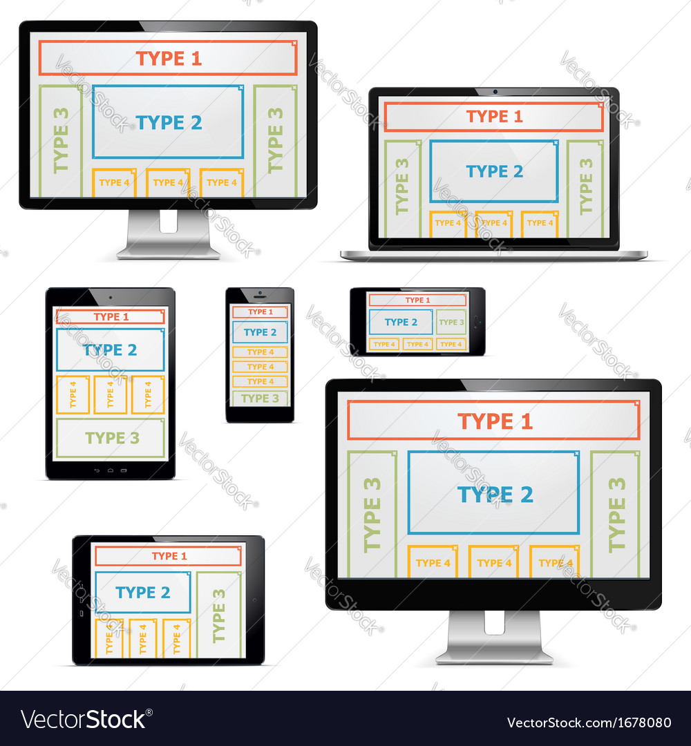 Computers with patterns set 1 vector | Price: 1 Credit (USD $1)