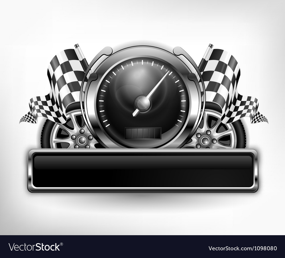 Emblem speedometer races checkered flag vector | Price: 3 Credit (USD $3)