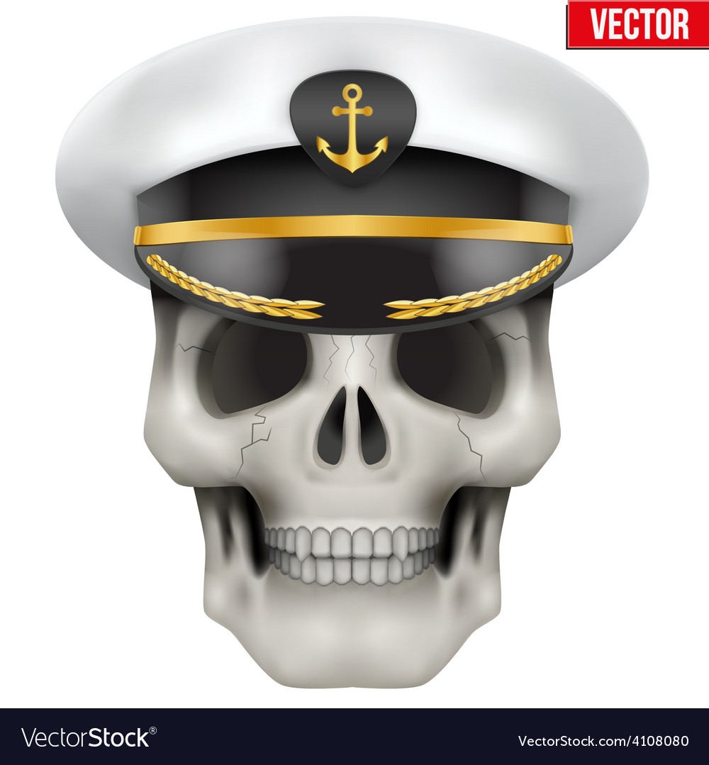 Human skull with sea captain cap on head vector | Price: 3 Credit (USD $3)