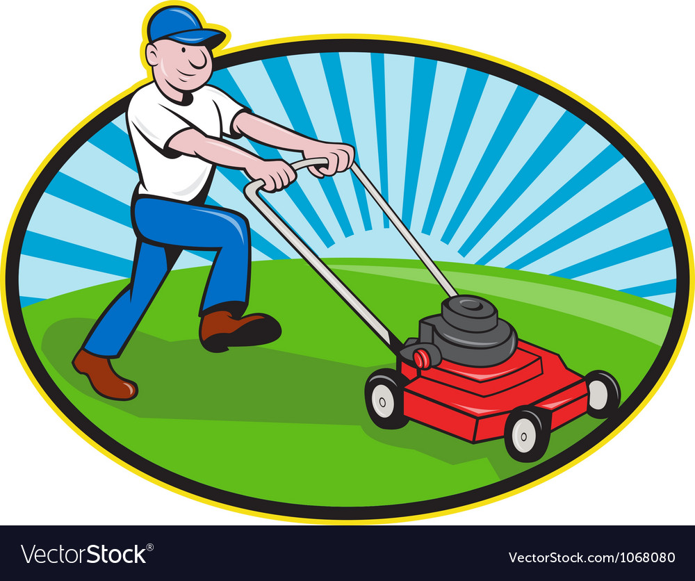 Lawn mower man gardener cartoon vector | Price: 3 Credit (USD $3)