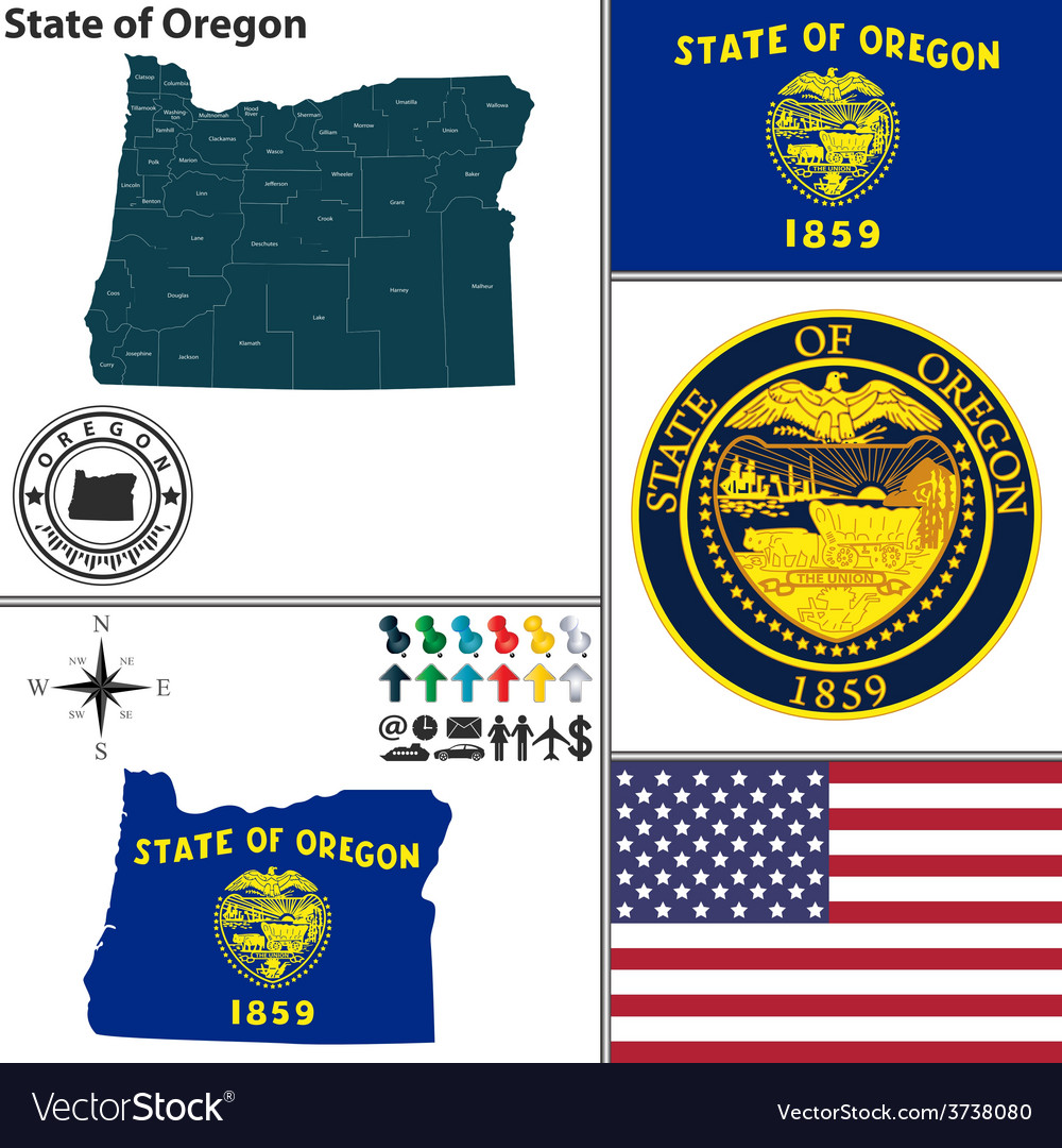 Map of oregon with seal vector | Price: 1 Credit (USD $1)