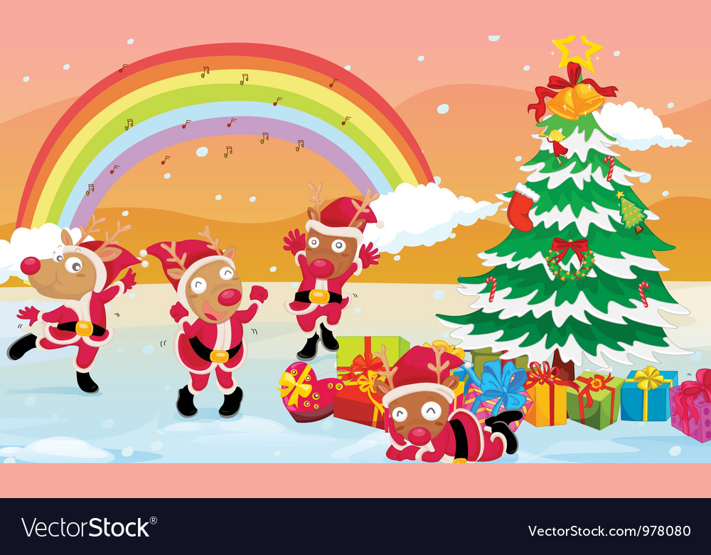 Reindeers celebrating christmas vector | Price: 3 Credit (USD $3)