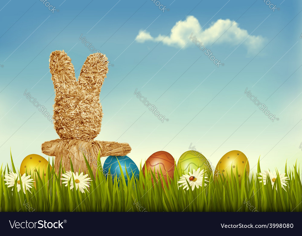 Retro holiday easter background with straw rabbit vector | Price: 3 Credit (USD $3)