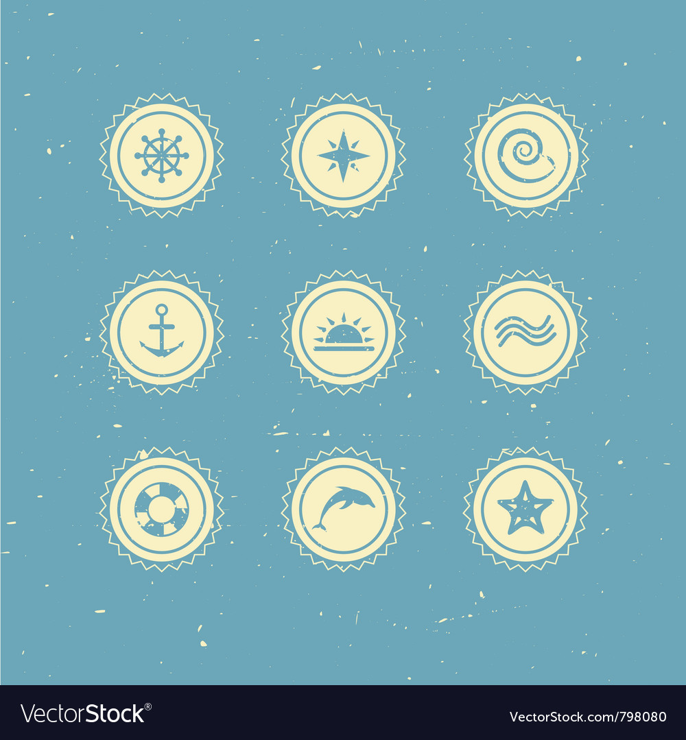 Set of retro marine icons vector | Price: 1 Credit (USD $1)