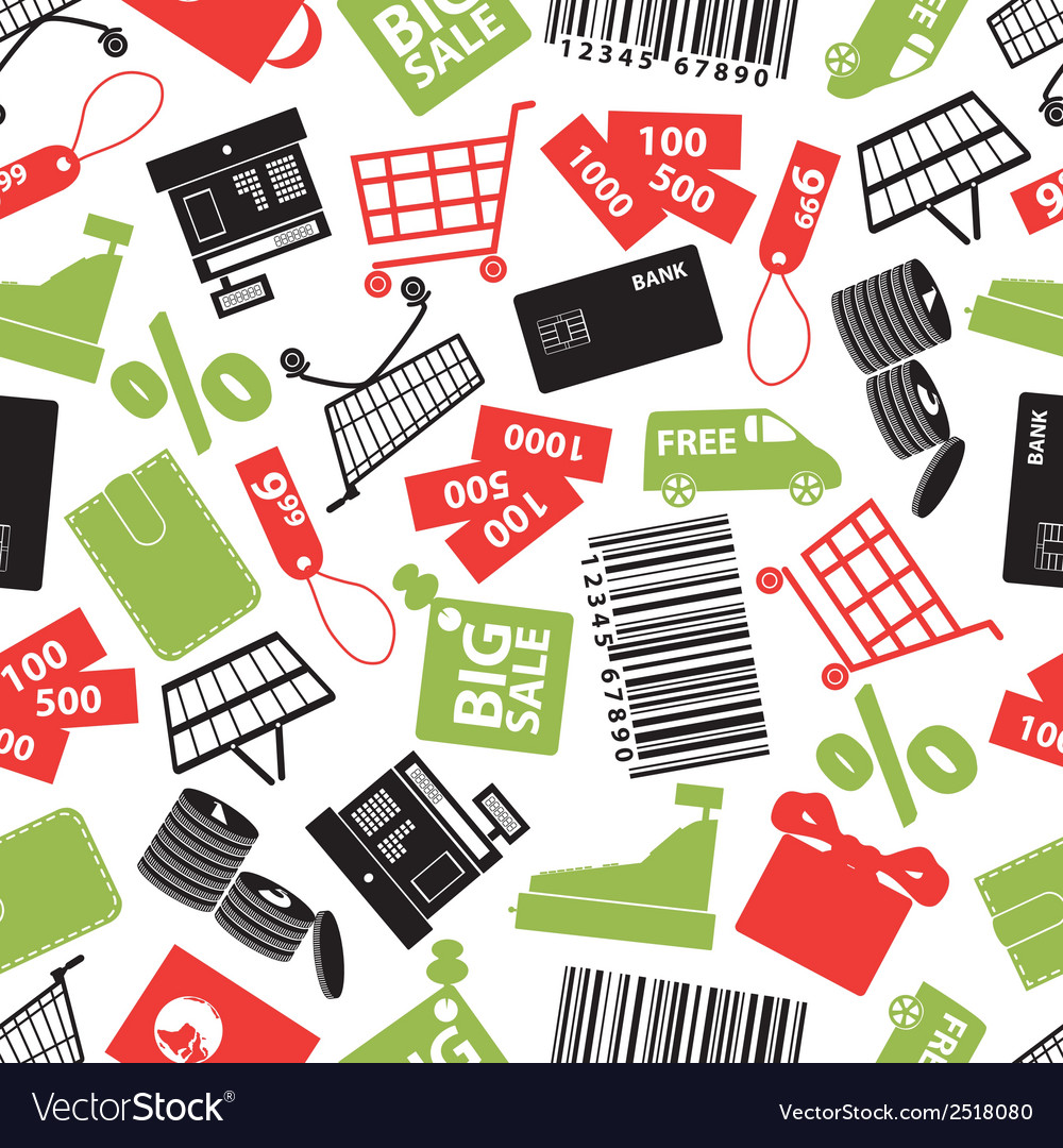 Shopping icons color pattern eps10 vector | Price: 1 Credit (USD $1)