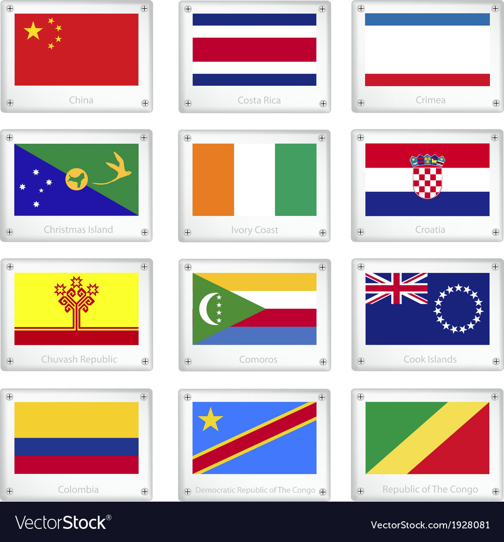 A set of national flags on metal texture plates vector | Price: 1 Credit (USD $1)