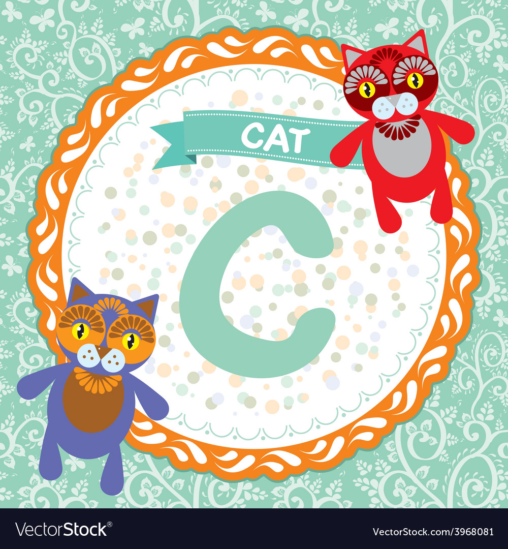 Abc animals c is cat childrens english alphabet vector | Price: 1 Credit (USD $1)