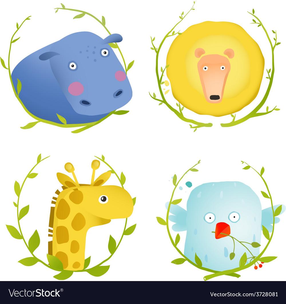 African animals fun cartoon portraits with wreath vector | Price: 1 Credit (USD $1)