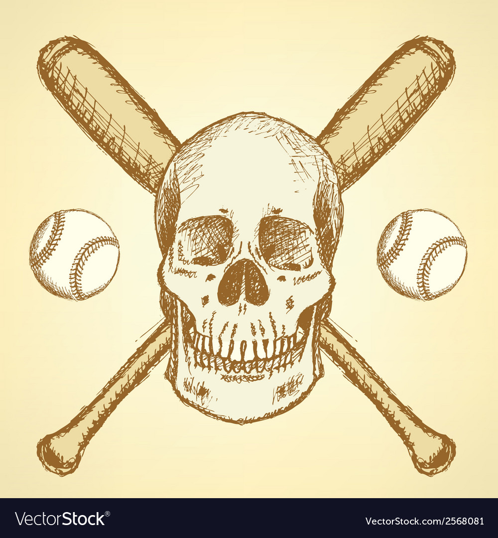 Baseball bat ball scull vector | Price: 1 Credit (USD $1)