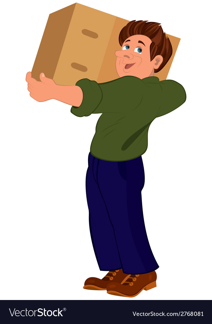 Cartoon man in green sweater holding big box vector | Price: 1 Credit (USD $1)