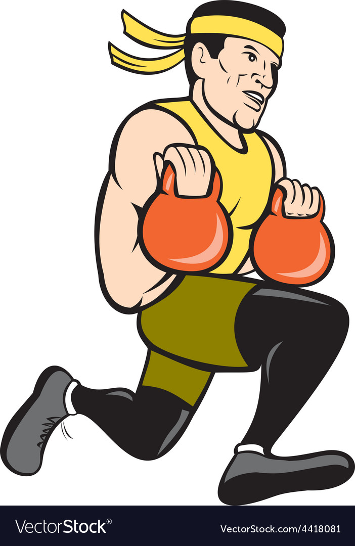 Crossfit runner with kettlebell cartoon vector | Price: 1 Credit (USD $1)