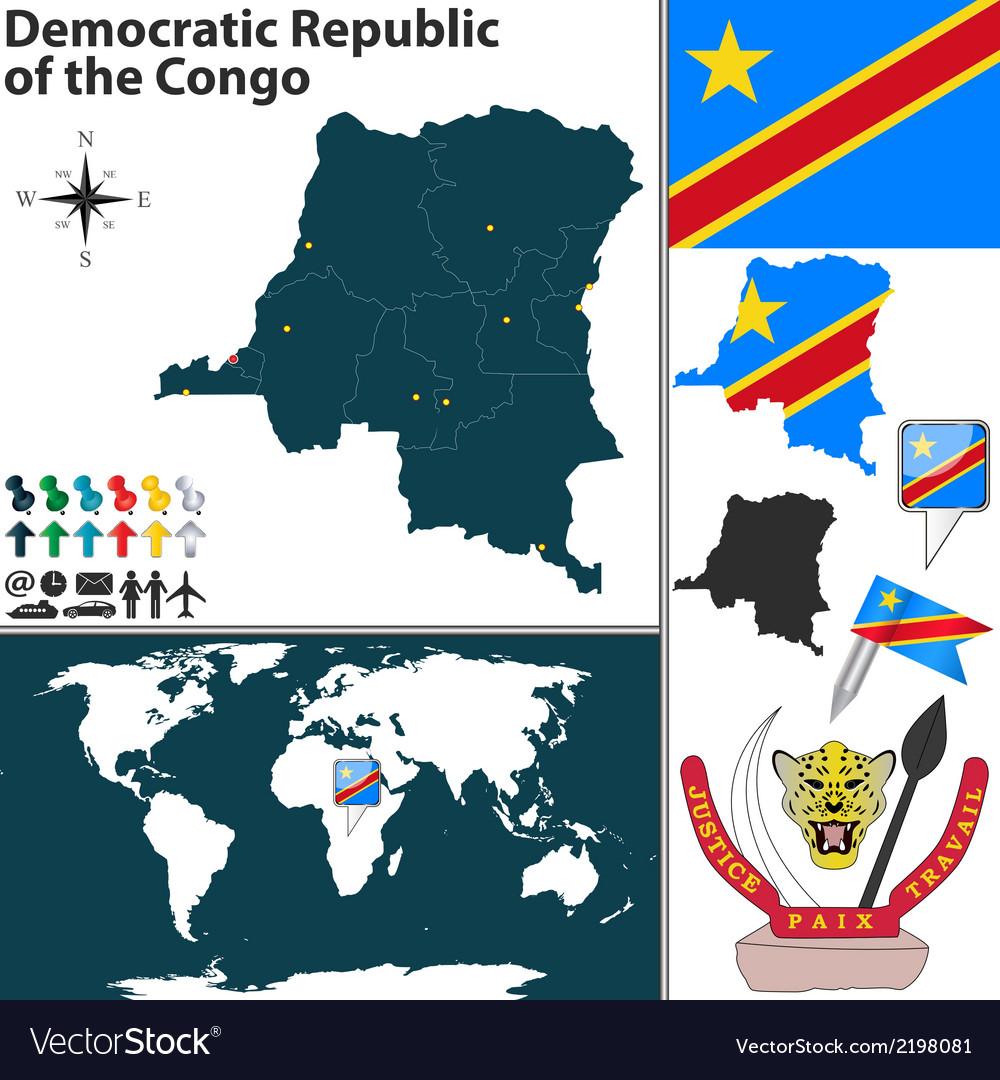 Democratic republic of the congo map vector | Price: 1 Credit (USD $1)