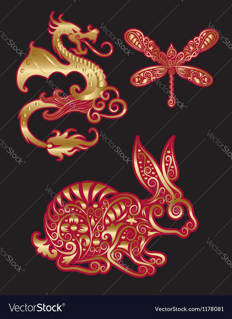 Golden animal ornament dragon dragonfly rabbit vector   Price: 1 Credit (USD $1)