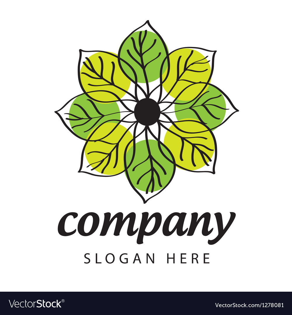 Logo green and yellow petals vector | Price: 1 Credit (USD $1)