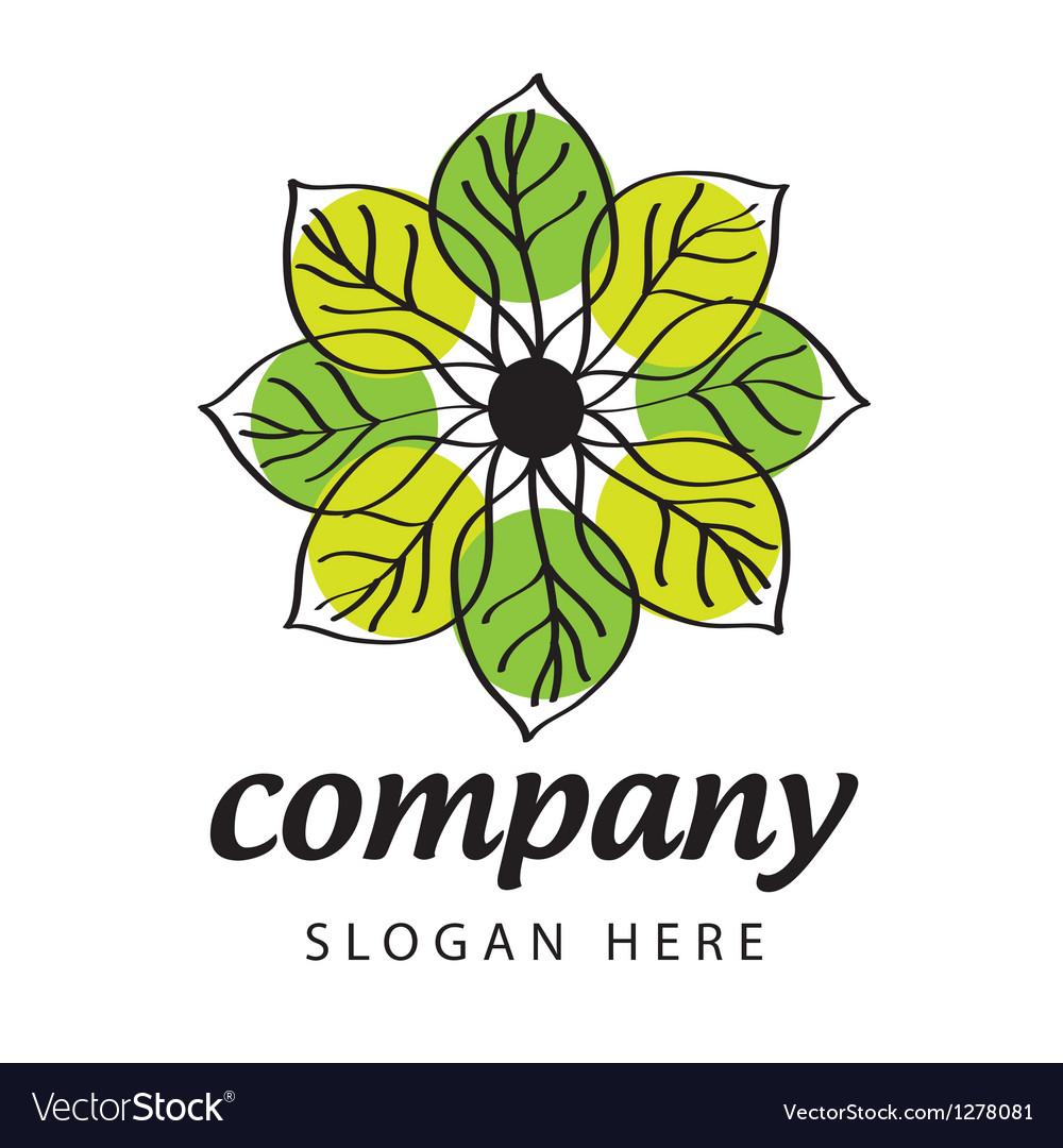 Logo green and yellow petals vector | Price: 1 Credit (USD $1)