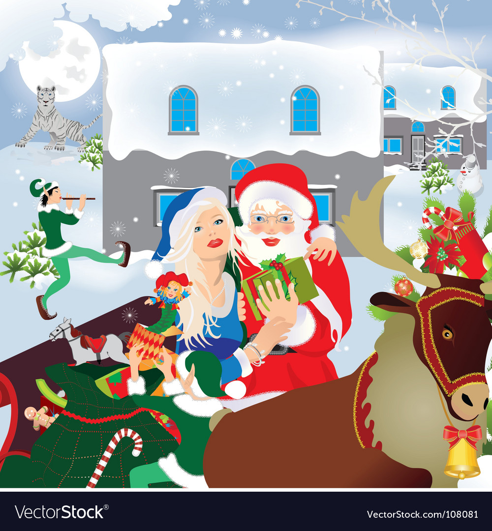 Santa claus and sledge vector | Price: 5 Credit (USD $5)