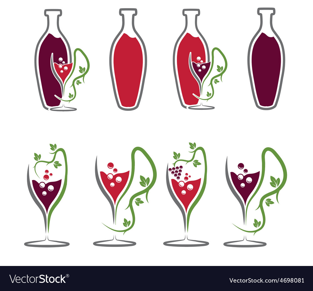 Set of wine bottles and wineglasses vector | Price: 1 Credit (USD $1)
