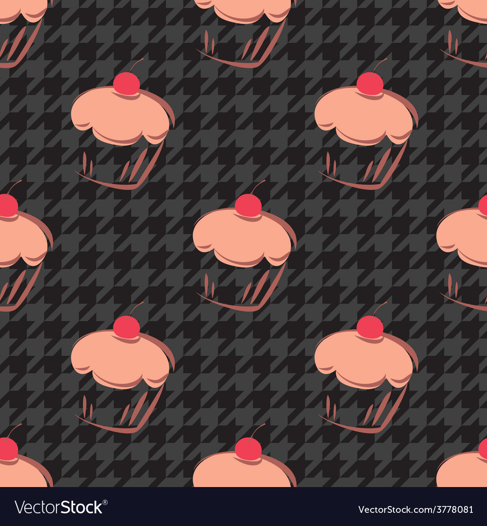 Tile cupcake and black houndstooth pattern vector | Price: 1 Credit (USD $1)