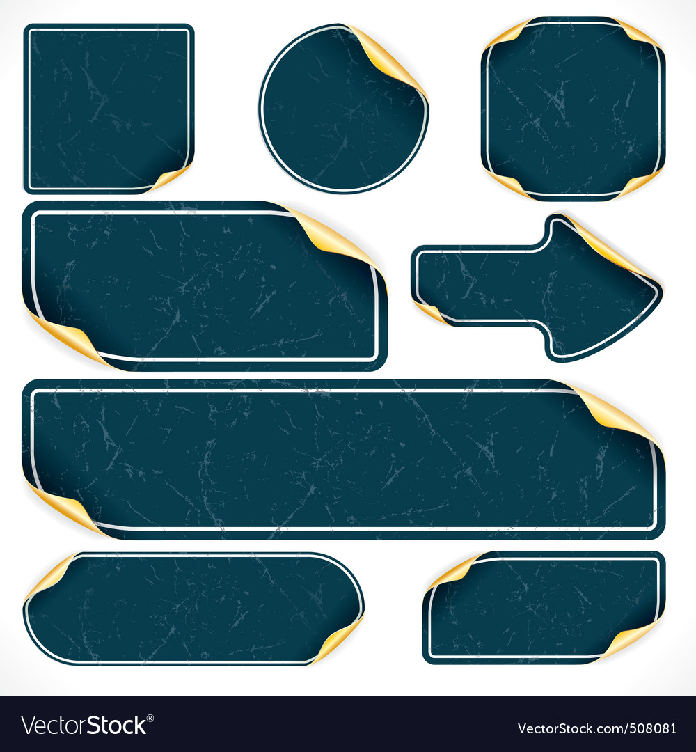 Vintage black stickers and labels with damaged sur vector | Price: 1 Credit (USD $1)
