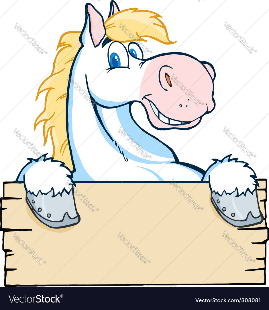 White horse looking over a blank wood sign vector | Price: 1 Credit (USD $1)