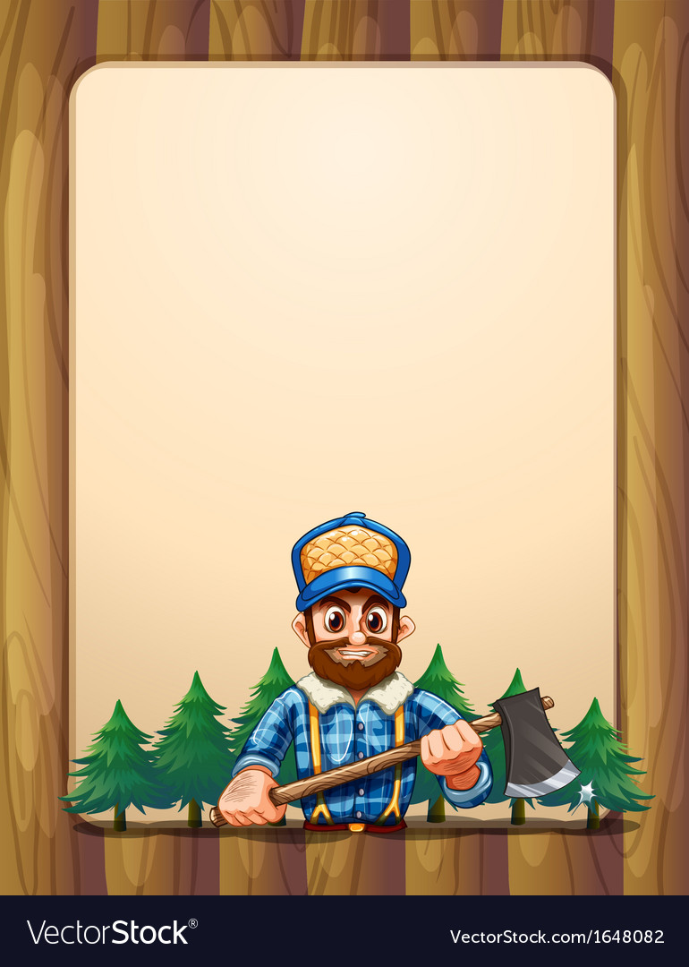 An empty wooden frame border with a lumberjack in vector