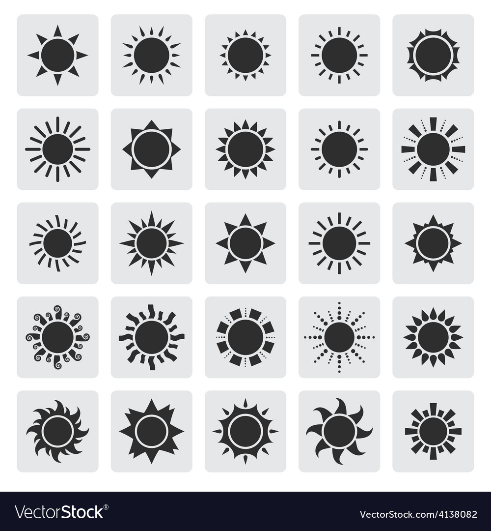 Big black sun icons set vector | Price: 1 Credit (USD $1)