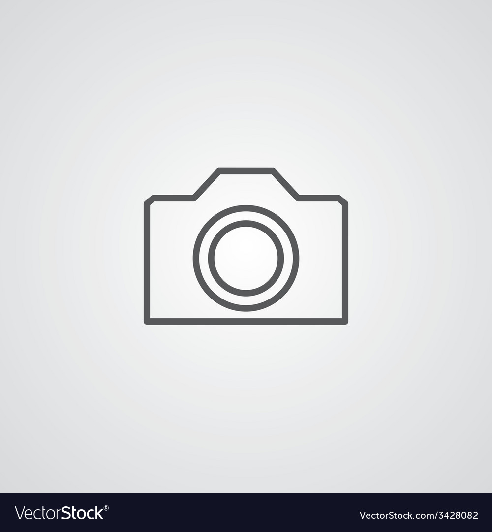 Camera outline symbol dark on white background vector | Price: 1 Credit (USD $1)