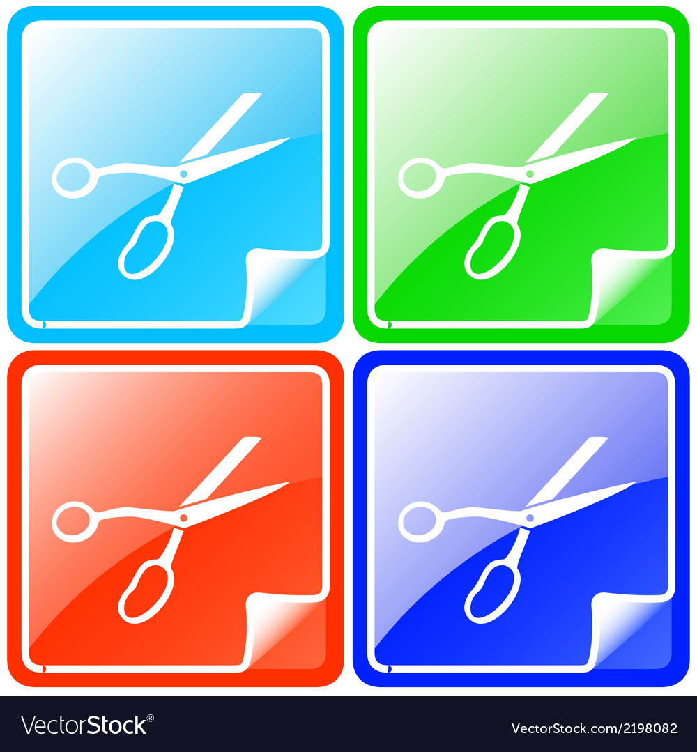 Colorful buttons set with scissors vector | Price: 1 Credit (USD $1)