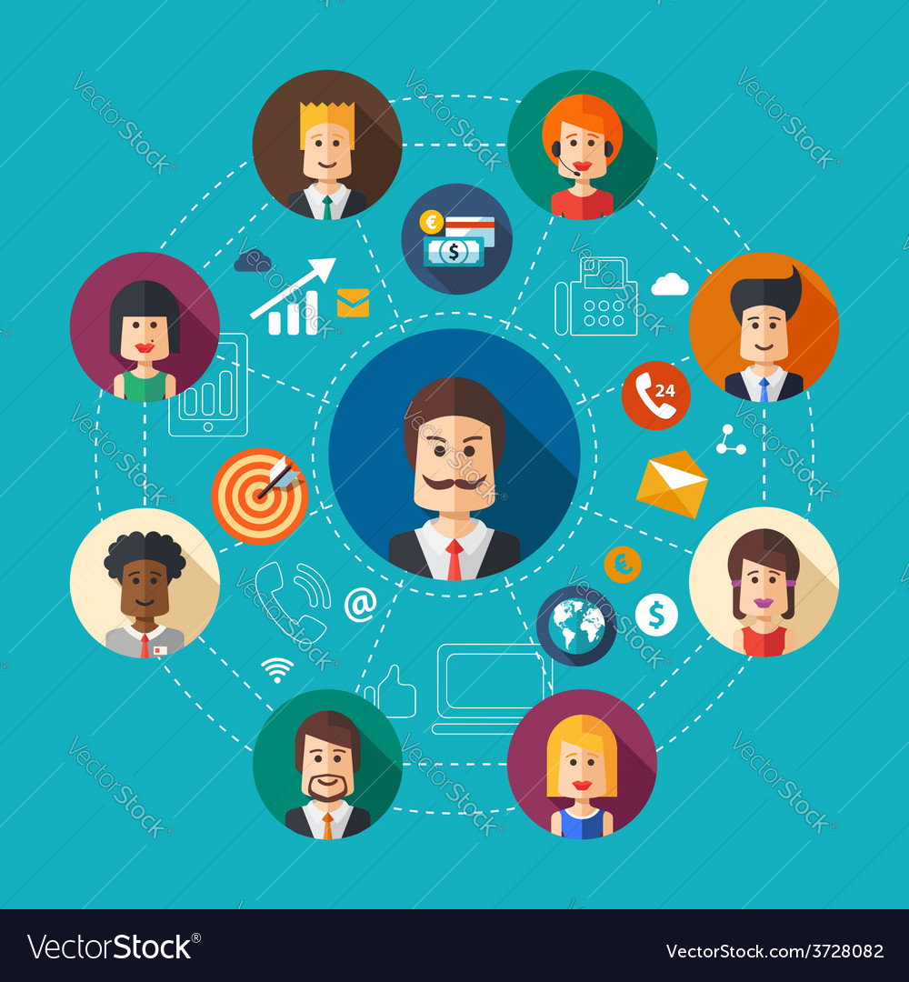 Flat design business team work vector | Price: 1 Credit (USD $1)
