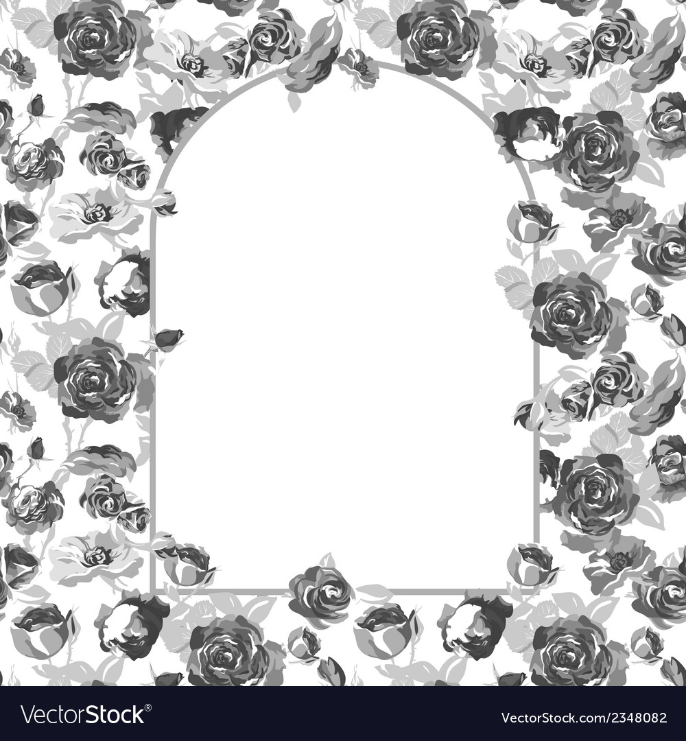 Floral greeting card with blossom roses vector   Price: 1 Credit (USD $1)