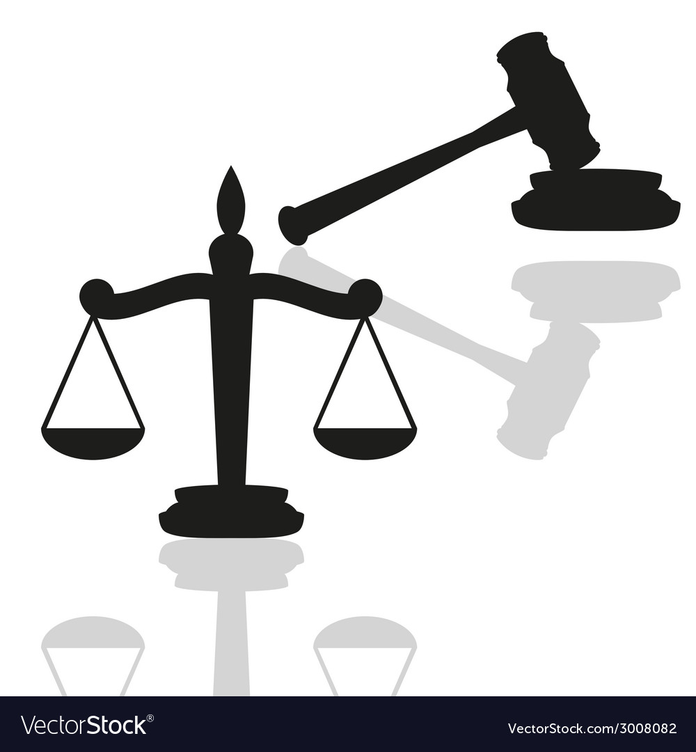 Gavel and scales vector | Price: 1 Credit (USD $1)