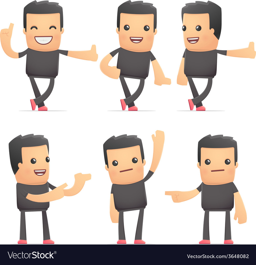 Set of bad guy character in different poses vector | Price: 1 Credit (USD $1)