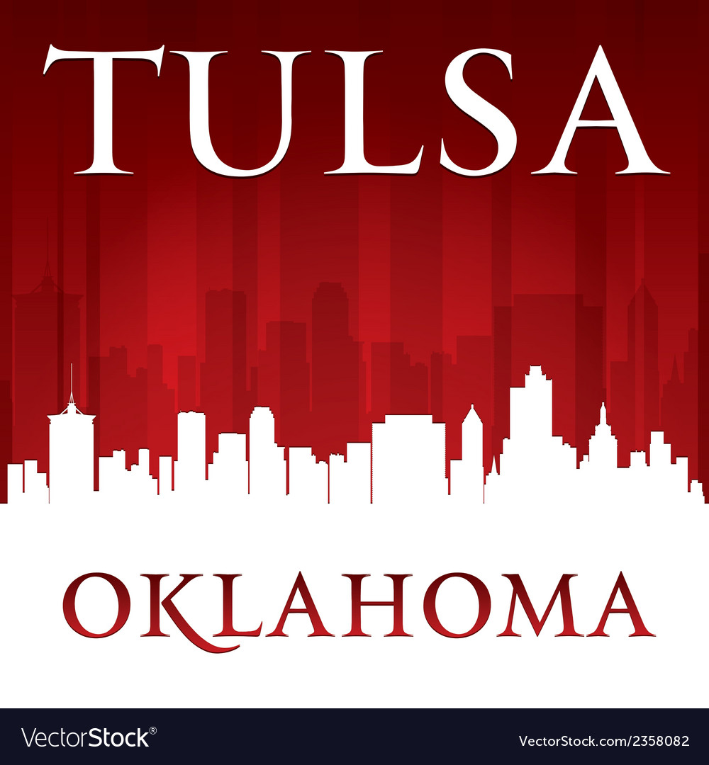 Tulsa oklahoma city skyline silhouette vector | Price: 1 Credit (USD $1)