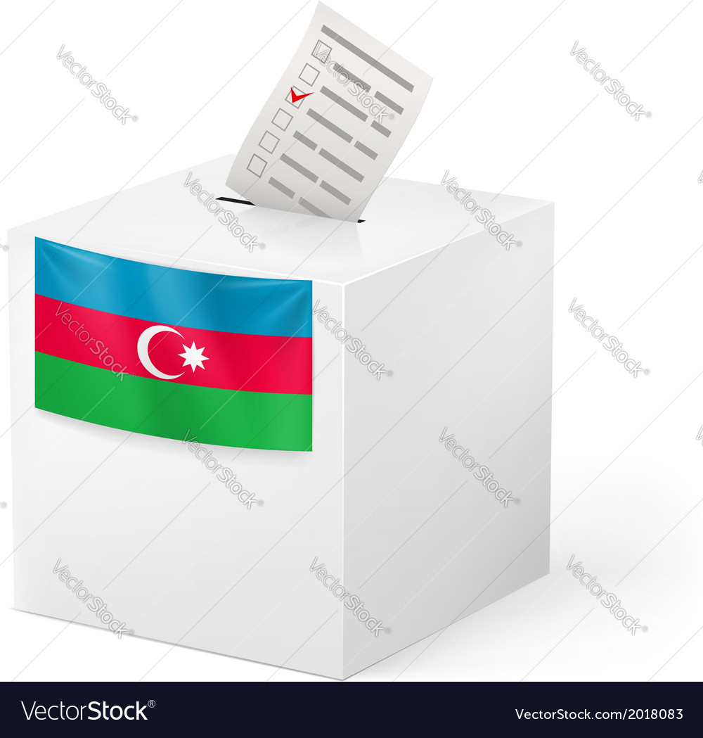 Ballot box with voting paper azerbaijan vector | Price: 1 Credit (USD $1)