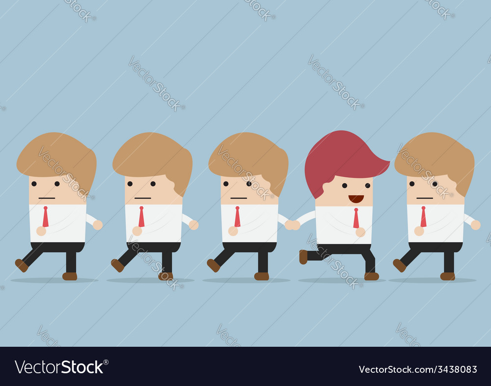 Businessman go to different way of his team indi vector | Price: 1 Credit (USD $1)