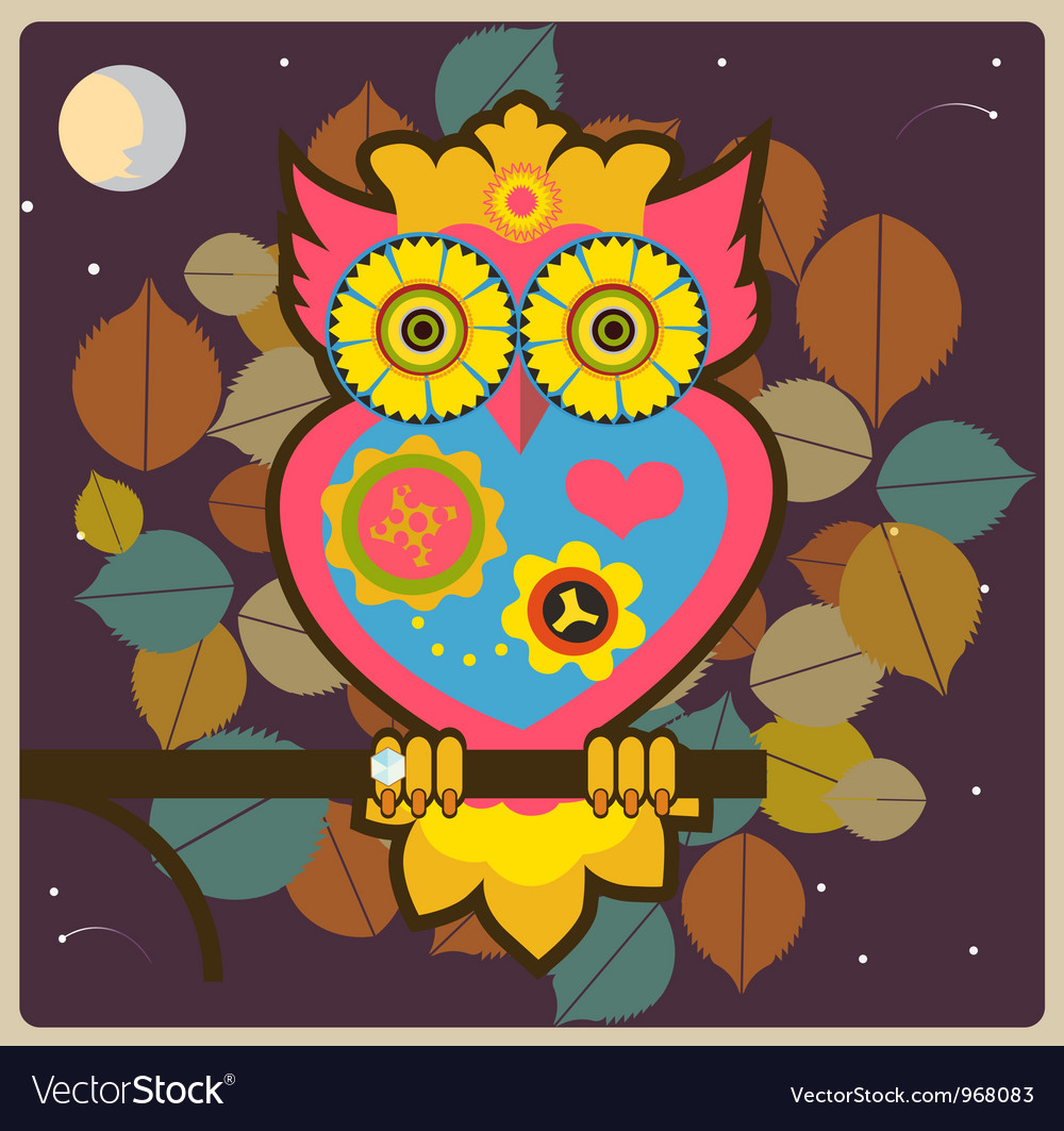 Cartoon owl big pink queen vector | Price: 1 Credit (USD $1)