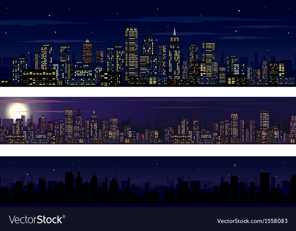 City skyline collection of night skyline vector | Price: 1 Credit (USD $1)