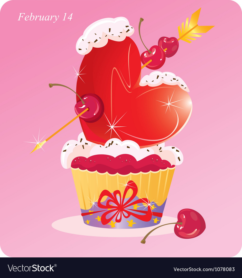 Cute cupcake with heart vector | Price: 1 Credit (USD $1)