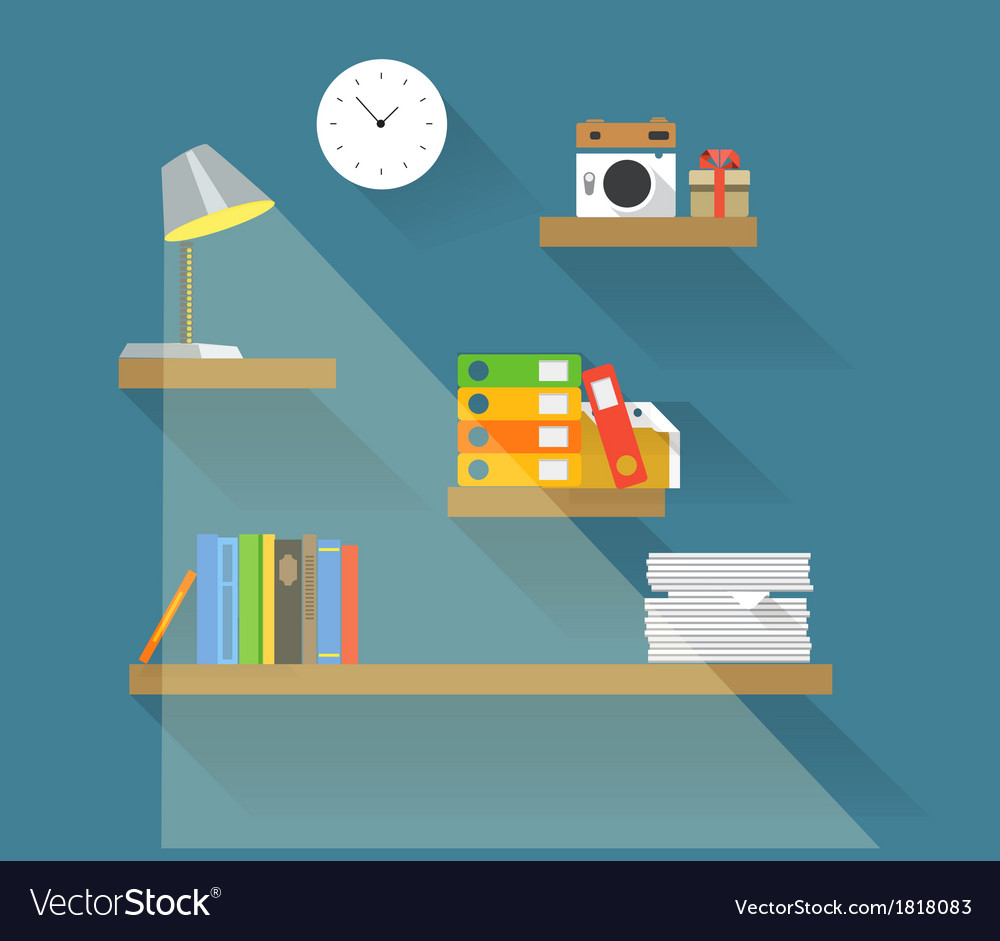 Different objects on book shelves vector | Price: 1 Credit (USD $1)