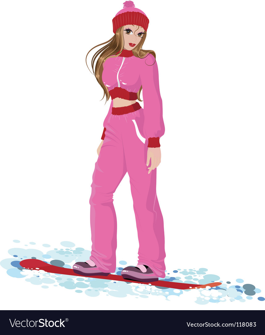 Girl snow boarder vector | Price: 3 Credit (USD $3)