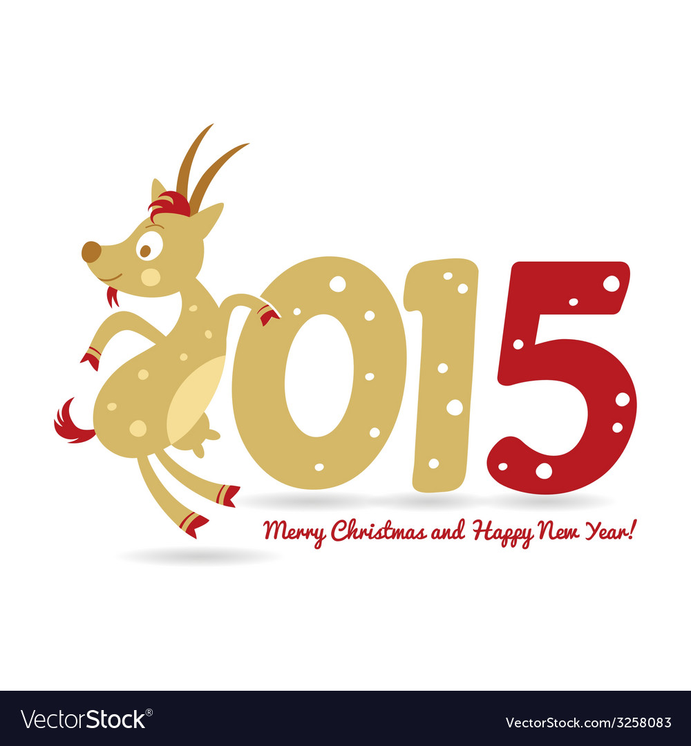 Happy new year and goat symbol of the new year vector | Price: 1 Credit (USD $1)