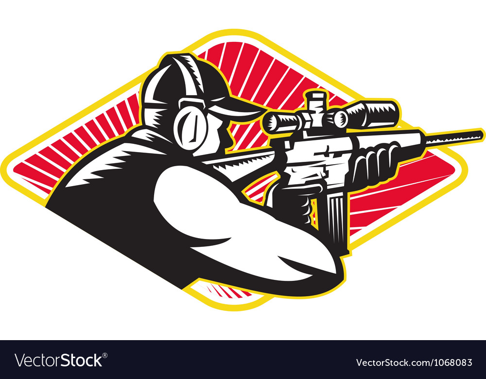 Hunter shooter aiming rifle retro vector | Price: 1 Credit (USD $1)