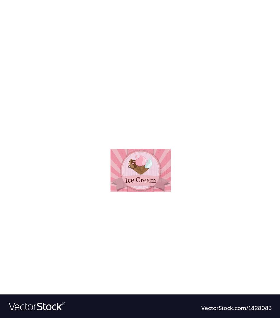 Ice cream vintage style poster vector   Price: 1 Credit (USD $1)