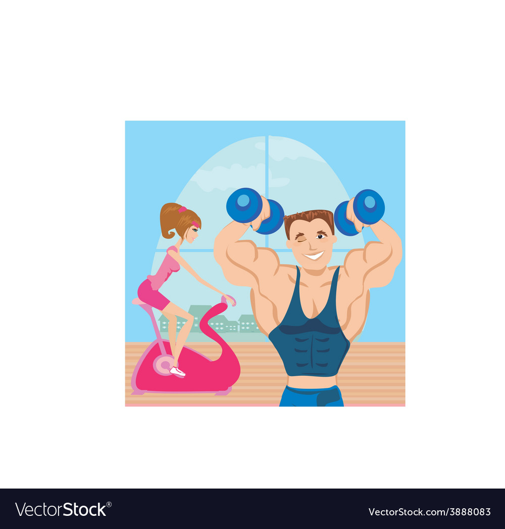 Man and woman exercises in the gym vector | Price: 1 Credit (USD $1)
